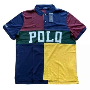 Polo Ralph Lauren Spell Out Color Block Polo Shirt